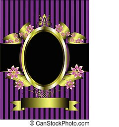 a gold floral frame on a classic purple striped background with room for text