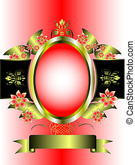 A gold floral frame on a pink graduated background