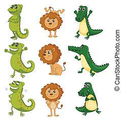 A lion, a chameleon and a crocodile