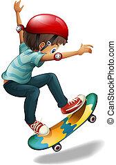 Illustration of a little man skateboarding on a white background