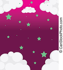 A pink sky with green stars