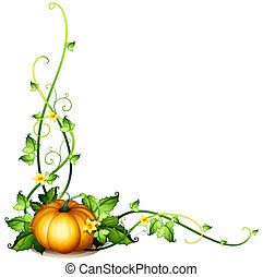 Illustration of a pumpkin vine decor on a white background