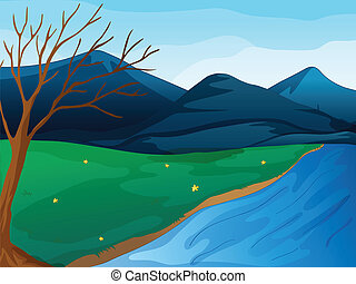 A river and mountains