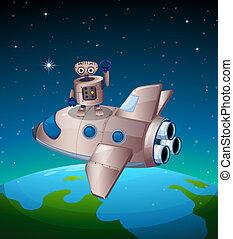 A robot above the spaceship