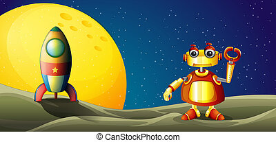 A robot and a spaceship in the outer space