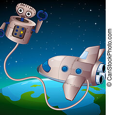 A robot and an aircraft at the outerspace
