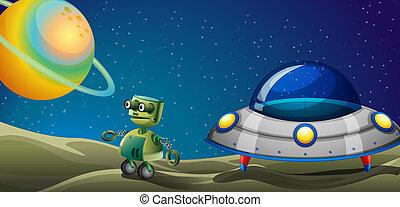 Illustration of a robot beside a flying saucer