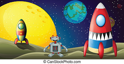A robot between two spaceships at the outerspace