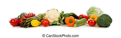 A row of vegetables including broccoli, tomatoes, lettuce, squash, cauliflower, peppers, asparagus and cherry tomatoes on a white background