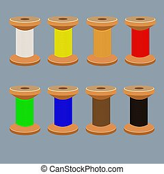 a set of coils with multi-colored threads