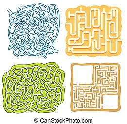 A set of maze puzzle game template