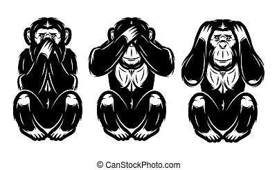 a set of three monkeys - hear no, see no, do not say