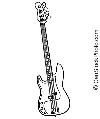 a simple Electric Bass Guitar line art illustration