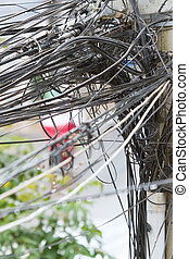 A tangle of cables and wires