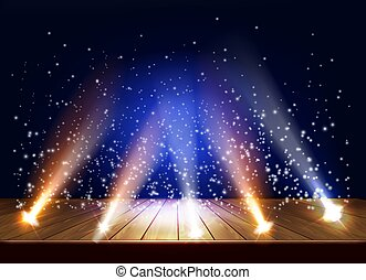 A theater stage with a magic light effect. Festival night show poster. Vector illustration