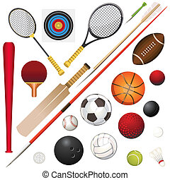 A Vector Illustration Of Various Sports Equipment