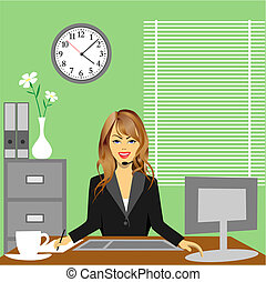 A Woman in Office Sitting at Desk
