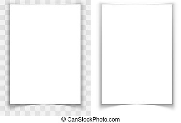 A4 paper page curled edges shadow effect vector template.