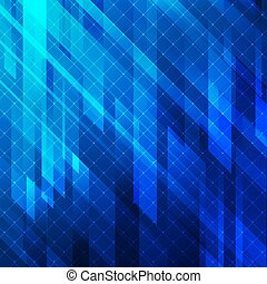 Abstract background blue glowing lights geometric stripes with line grid