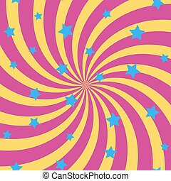 Abstract background with spiral sun rays and stars. Vector.