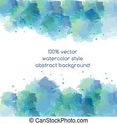Abstract blue vector background in watercolor style