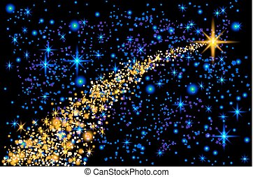 Abstract Bright Falling Star - Christmas Star - Shooting Star with Twinkling Star Trail on Dark Blue Background - Meteoroid, Comet, Asteroid - Backdrop Vector Illustration
