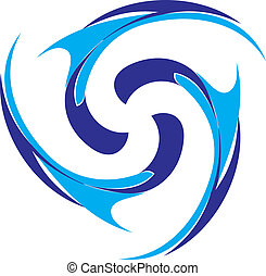 Abstract color swirl on white background