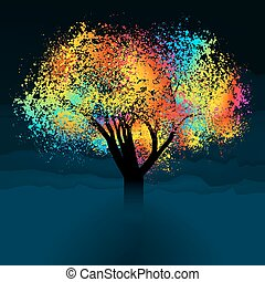 Abstract colorful tree. With copy space. EPS 8 vector file included