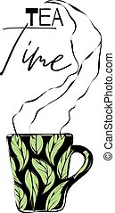 Abstract cup with tea leaves and steam, text 'tea time'
