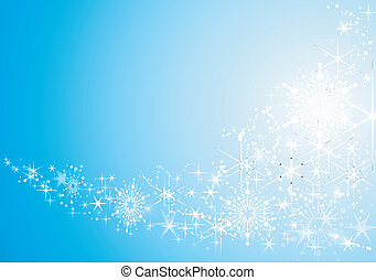 Abstract festive background with shiny stars and snow flakes.