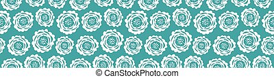 Abstract floral seamless vector repeat border. Illustration of cut out style scabious flower illustration. Modern meadow flora blue white banner. Summer bloom concept ribbon, edge trim, washi tape