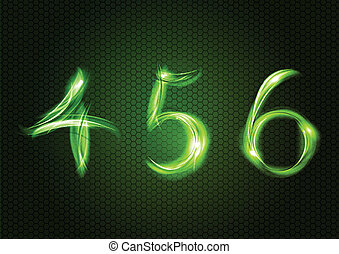 Green numbers FOUR, FIVE, SIX.