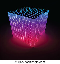 Abstract glowing pink cube. Vector