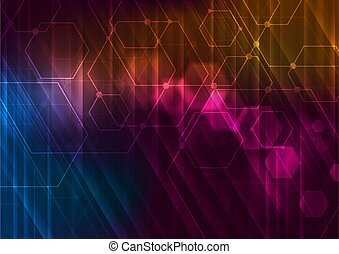 Abstract glowing technology background with hexagons