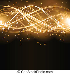 Overlaying golden wavy lines forming an abstract pattern with light effects on a dark background. With stars and space for your copy. EPS10