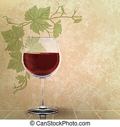 abstract grunge illustration with wineglass