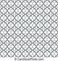 Abstract lattice pattern with dots and quatrefoil shapes.
