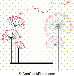 Abstract love flower on polka dot background