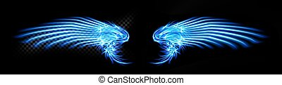 Abstract neon glowing blue angel wings. Isolated, strewn with sparks on dark, black background. Happy Valentines day, attributes. Vector illustration