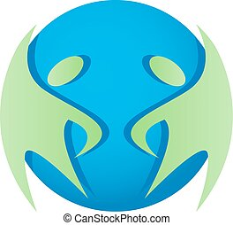 Abstract people and earth icon