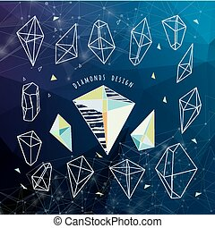 Abstract polygonal backgroun. Low poly crystal design with conne