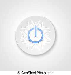 Abstract power button on the snowflake