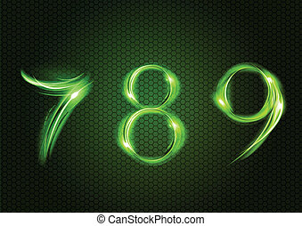 Green numbers SEVEN, EIGHT, NINE.