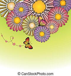 Abstract springtime colorful daisy