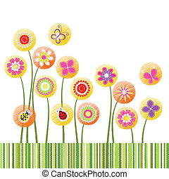 Abstract springtime colorful flower greeting card
