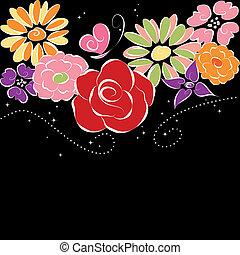 Springtime colorful flowers on black background