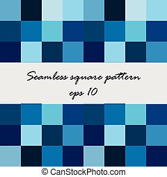 Abstract square vector seamless pattern, background in blue tones