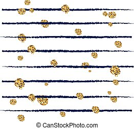 Abstract striped decorative vector background with golden confetti