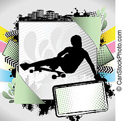 Abstract summer long boarder poster