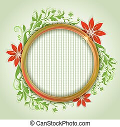 Abstract summer round frame background with red flowers vector illustration.